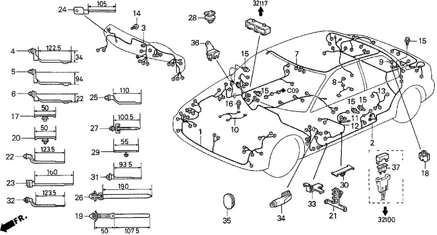 1994 Acura Vigor 4 Door LS KL 5MT Wire Harness