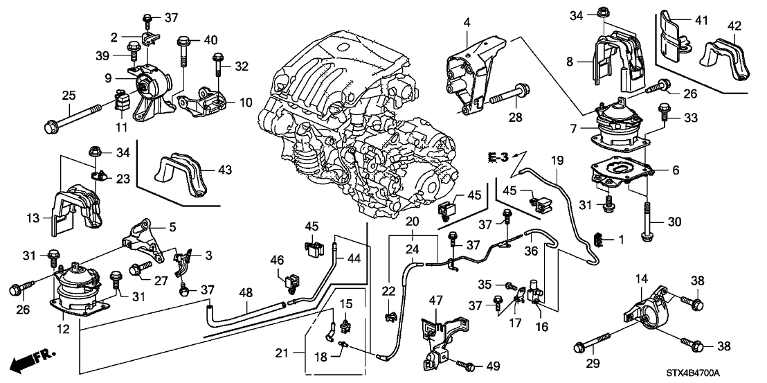 2008 Acura MDX 5 Door TECH KA 5AT Engine Mounts