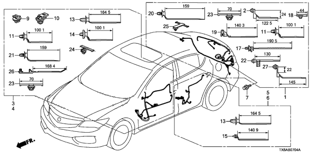 32751-TV9-A00 Genuine Acura Wire Harness, Door (Driver Side)