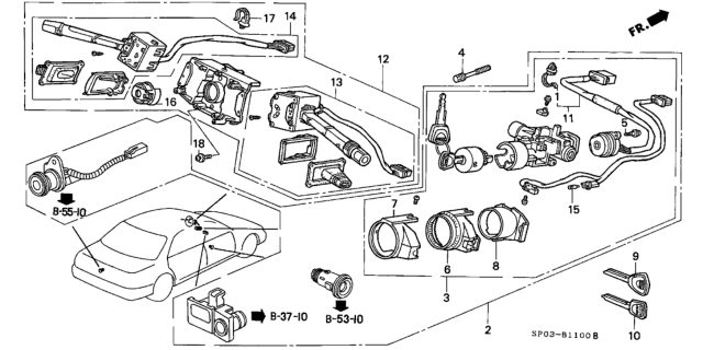 35114-SP0-A01 Genuine Acura Key, Blank (Sub)
