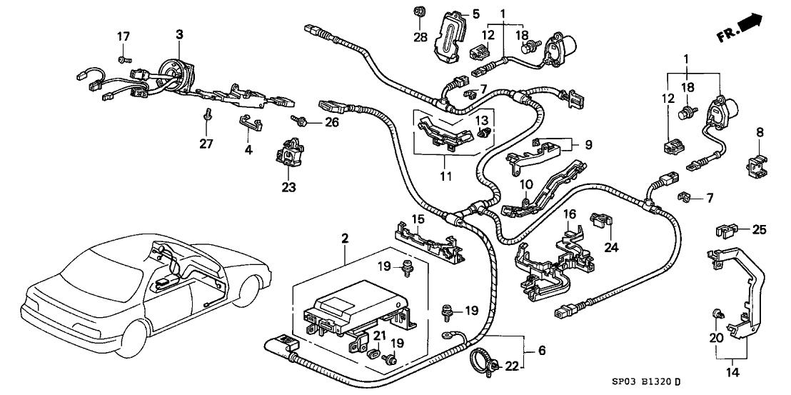 1992 Acura Legend 4 Door LS KL 4AT SRS Control Unit