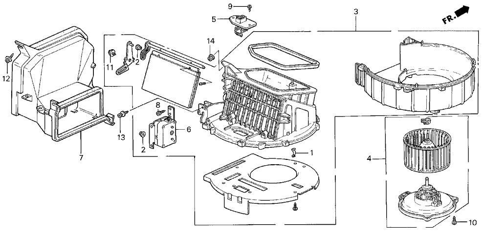 1996 Acura Integra 3 Door RS KA 4AT Heater Blower