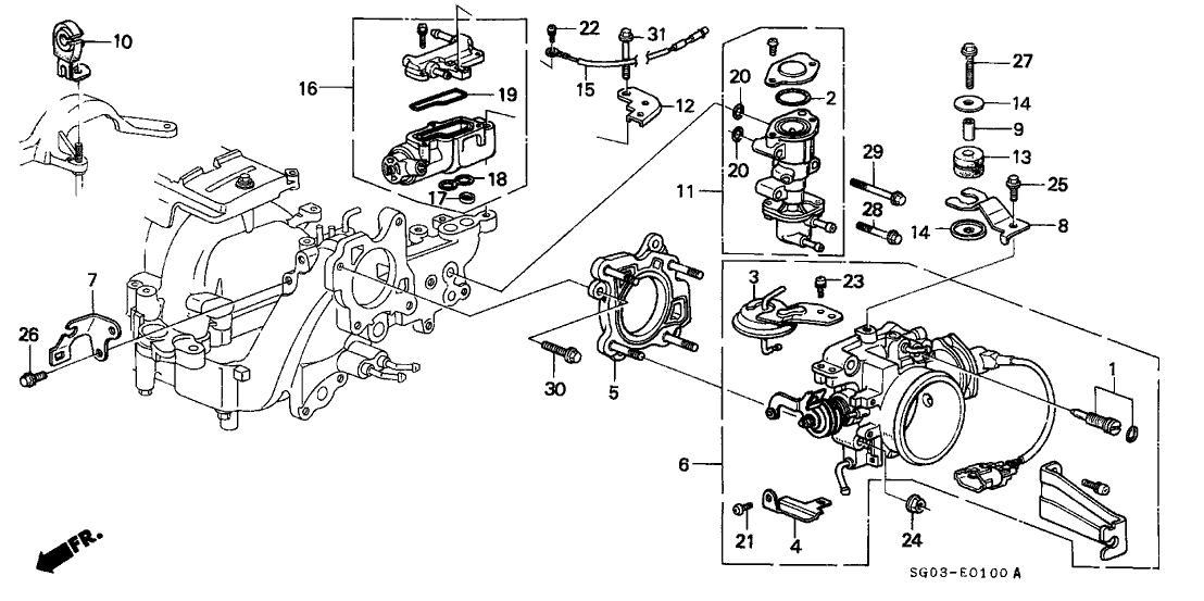 1990 Acura Legend 2 Door LS KA 4AT Throttle Body