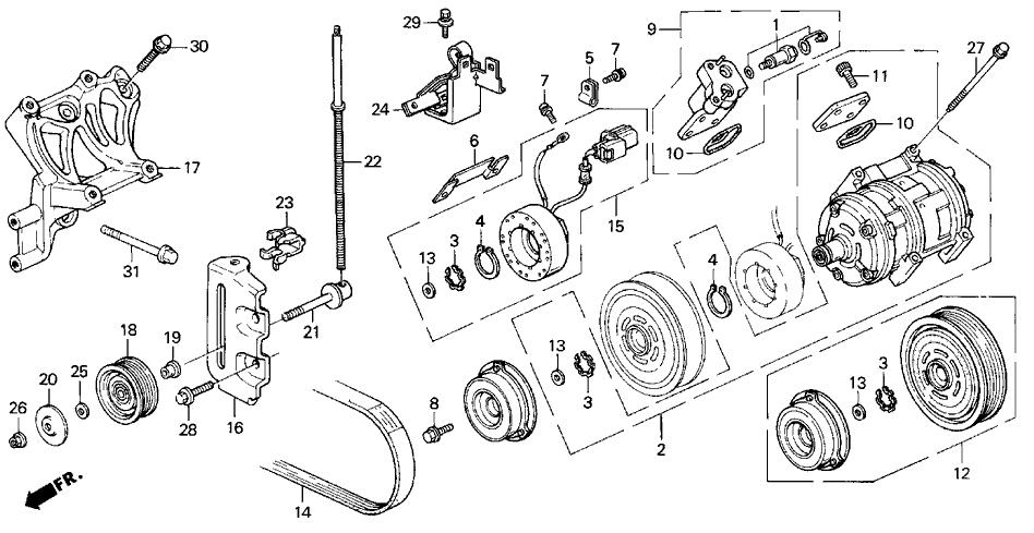 1994 Acura Vigor 4 Door LS KL 5MT A/C Compressor
