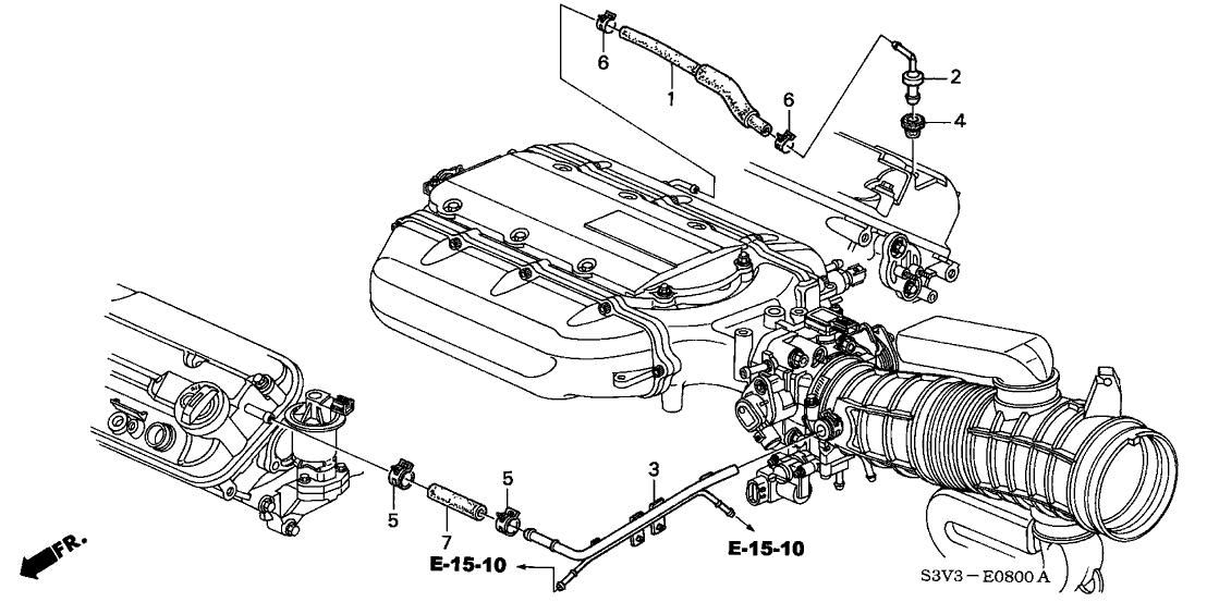 2002 Acura MDX 5 Door PREM (PKG-NAV) KA 5AT Breather Tube