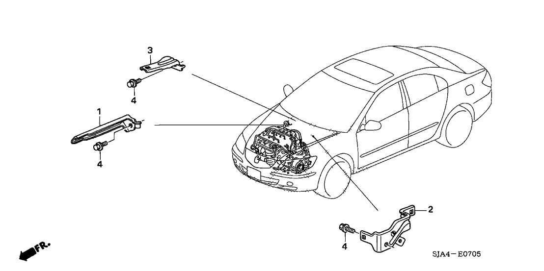2006 Acura RL 4 Door RL KA 5AT Engine Wire Harness Stay