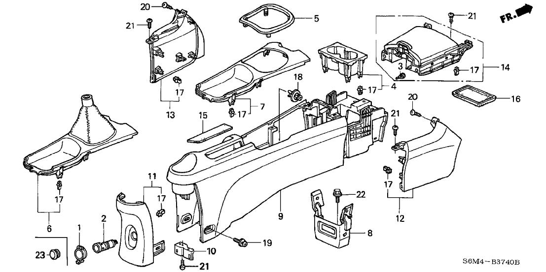 2002 Acura RSX 3 Door TYPE-S KA 6MT Console