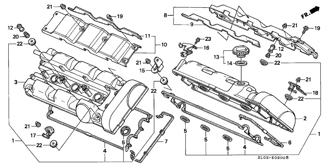 1991 Acura NSX 2 Door NSX KA 5MT Cylinder Head Cover