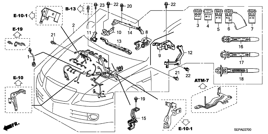 2008 Acura TL 4 Door TYPE-S KA 5AT Engine Wire Harness