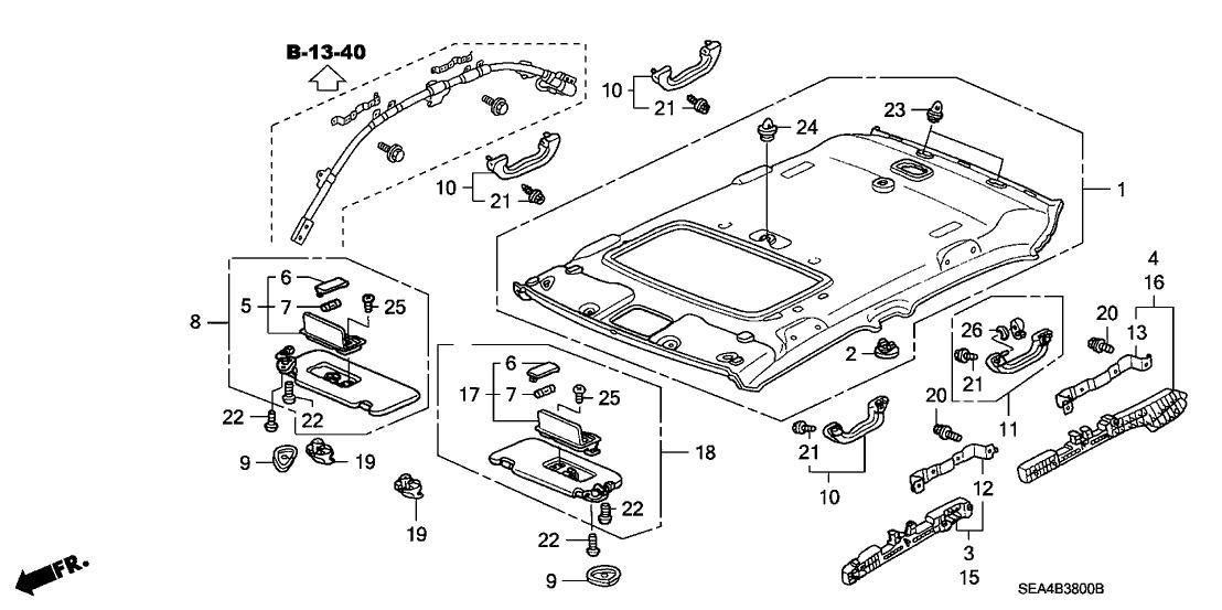 2004 Acura TSX 4 Door TSX KA 5AT Roof Lining