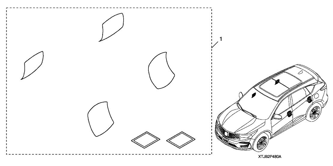 2019 Acura RDX 5 Door ADV (SH-AWD) KA XAT Door Handle Film