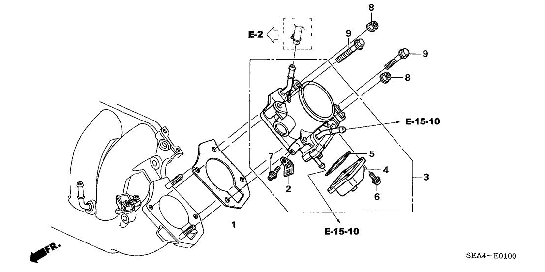 2005 Acura TSX 4 Door TSX (NAVIGATION) KA 5AT Throttle Body