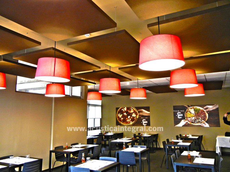 modular kitchen undermount sink absorbent treatment with acoustic panels for a restaurant.