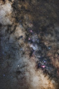 Densest part of the Milky Way visible from the northern skies is filled with colorful nebulae, star clusters and interstellar dust.