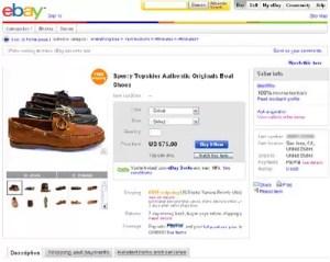 early eBay listing