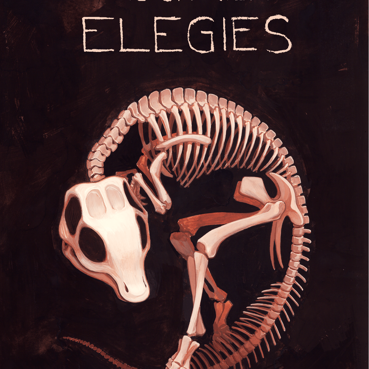 "Mock-up cover design for a book with the title ""Million-Year Elegies"" by Ada Hoffmann. The title and author are displayed, and there is a picture of the curled-up skeleton of a juvenile Maiasaurus."