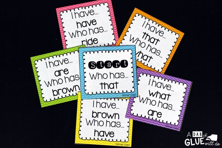 I Have, Who Has Print on cardstock and laminate for extra durability. This way you can reuse for years to come.Pass out all of the cards to yourstudents. Some students may end up with more than one card. Choose one student to start by reading the start card (labeled start). The student with the answer at the top of their card should read their entire card. The activity continues until you get to the finished card (labeled finish).