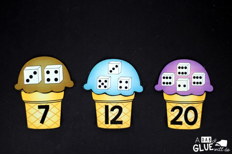 Matching Numbers with Ice Cream includes nine pages of ice cream scoops, numbers four through 20. Each ice cream cone has a number written on it and each ice cream scoop has two to four dice. Students will count the number of dots on each dice and then match it to the correctly numbered cone.