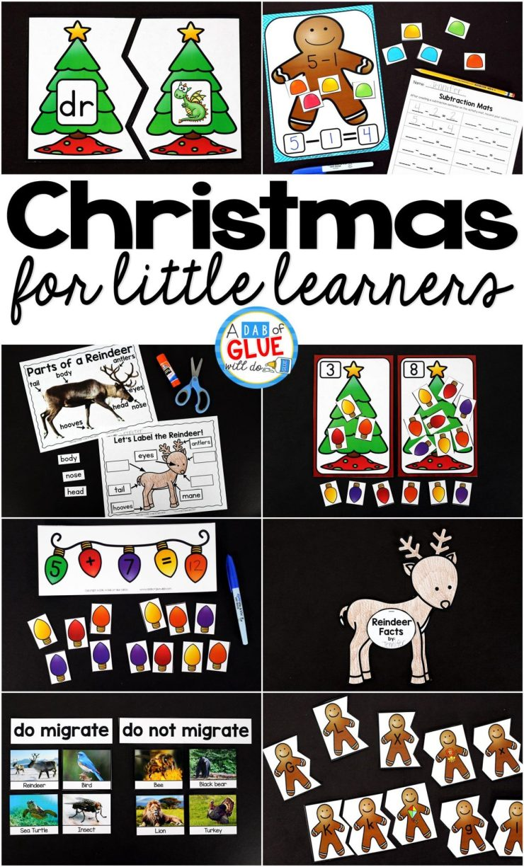 There are so many different Christmas activities that you can do at home or in the classroom. This page allows you to quickly see our favorite Christmas ideas, activities and printables that have been featured on A Dab of Glue Will Do.