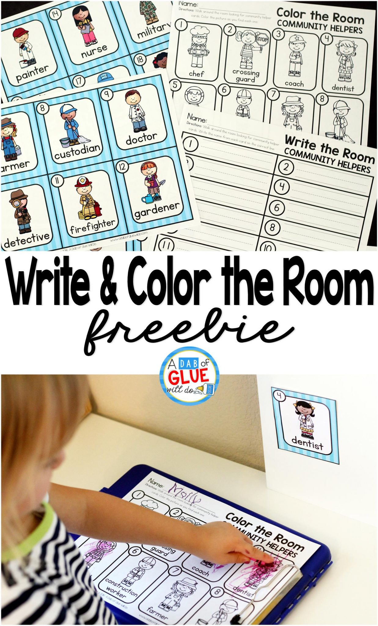 Community Helpers Write And Color The Room