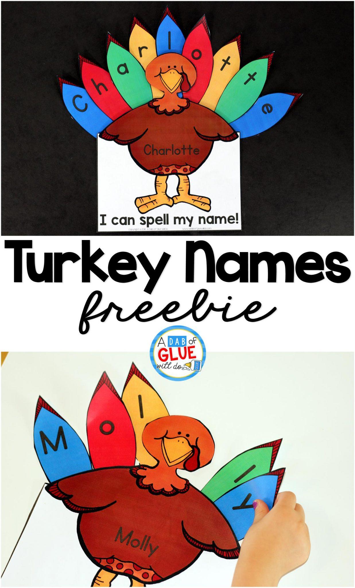 Turkey Names A Thankful Turkey Craft