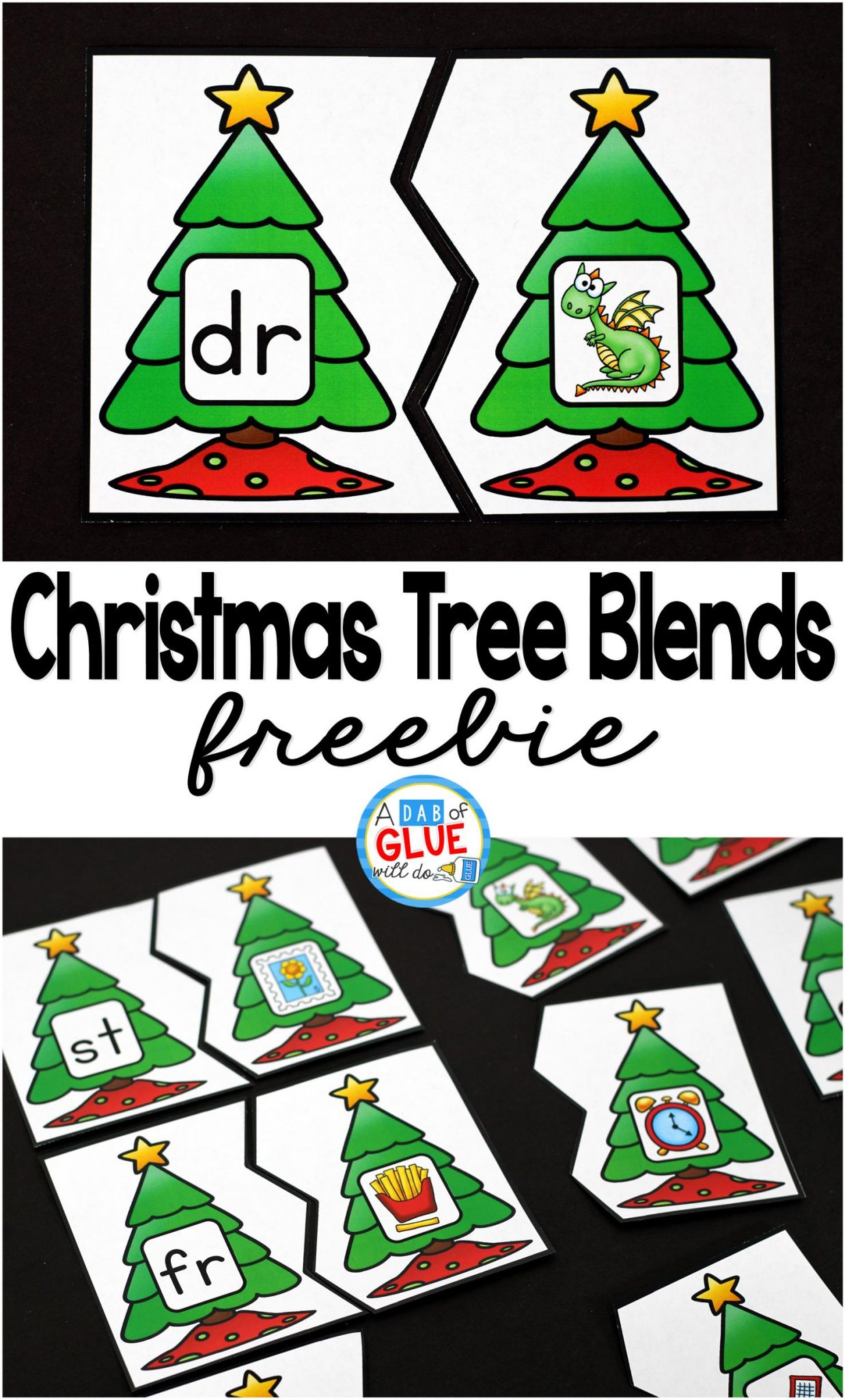 Christmas Tree Blend Printable Puzzles