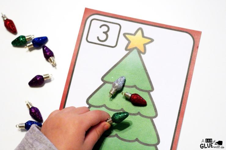 Christmas Tree Number Mats is the perfect addition to your math centers this holiday season. This free printable is perfect for preschool, kindergarten, and first grade students.