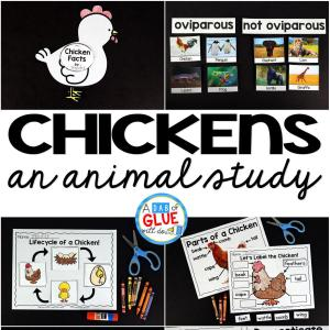 Engage your class in an exciting hands-on experience learning all about chickens! It will be the perfect addition to your spring and Easter lesson plans. This Chicken Animal Study is perfect for science in Preschool, Pre-K, Kindergarten, First Grade, and Second Grade classrooms and packed full of inviting science activities. Students will learn about the difference between chickens and ducks, oviparous and non-oviparous animals, parts of a chicken, and a chicken's life cycle. When students are done they can complete a chicken research project. This pack is great for homeschoolers, kids craft activities, and to add to your unit studies!