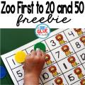 Zoo First to 20 and First to 50 Math Game is a great way for students to practice one to one correspondence, counting, and addition. This free printable is perfect for preschool, kindergarten, and first grade.