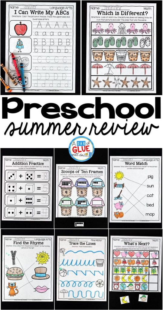The perfect NO PREP Preschool (Pre-K) Summer Review to help your Preschool (Pre-K) students with hands-on learning over summer break! Give your students going into Kindergarten fun review printables to help prevent the summer slide and set them up for Kindergarten success. This kindergarten prep packet is also perfect for a back to school refresher that will have your students ready for the new school year in no time. This review is packed full of engaging homework review activities that will bring a smile to their sweet faces as they work on math, fine motor, language arts! Parents will enjoy the student's focus on summer homework and Kindergarten teachers will LOVE their new students ready for Kindergarten work. Simply print, staple, and send home with your students before the end of year.