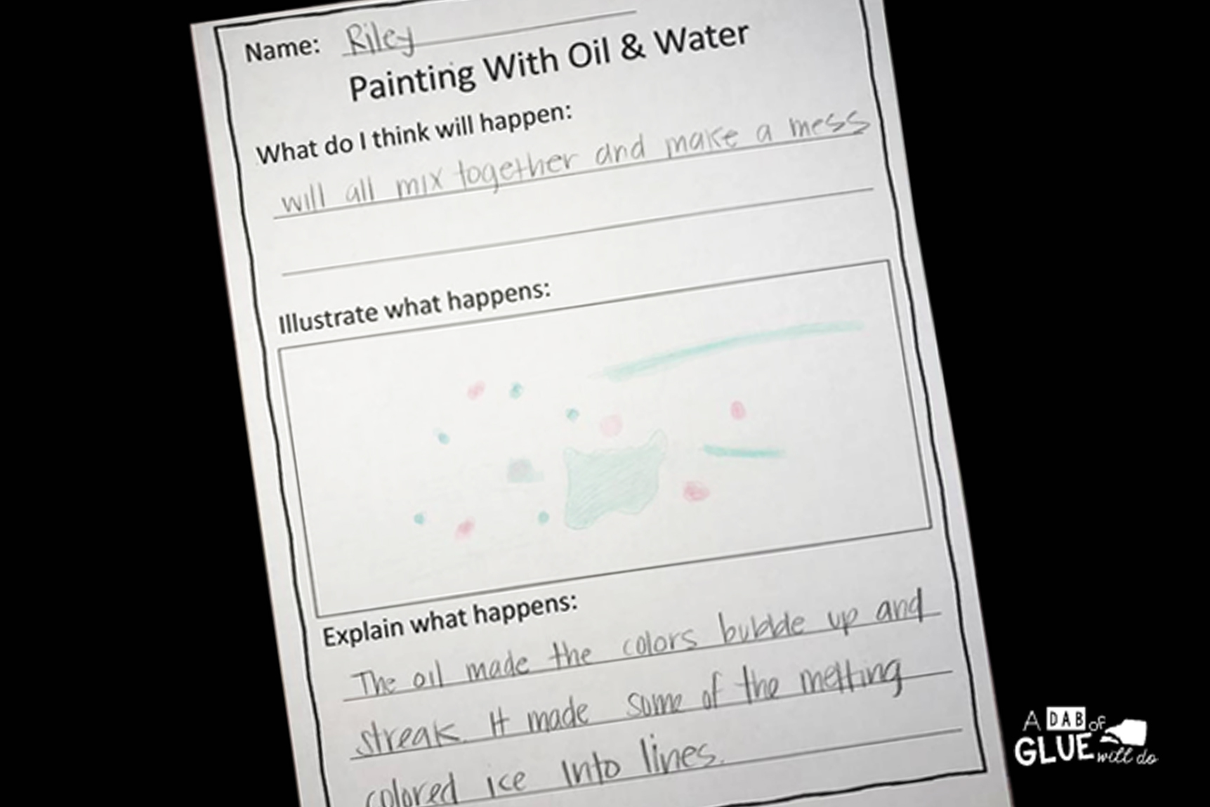 Mixing Oil And Water Experiment Freebie