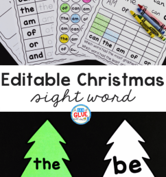 Christmas Editable Sight Word Activity - A Dab of Glue Will Do [ 1559 x 941 Pixel ]