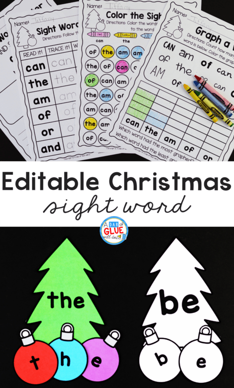 hight resolution of Christmas Editable Sight Word Activity - A Dab of Glue Will Do