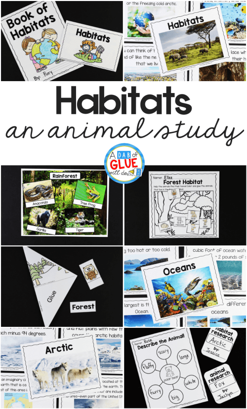 small resolution of Animal Habitats Science Unit - A Dab of Glue Will Do