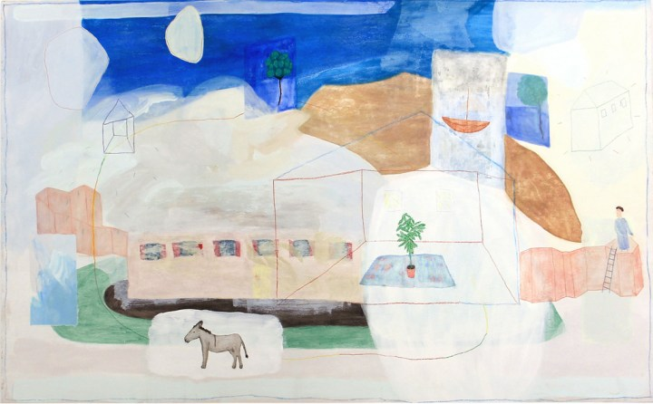 Juliette Dominati, 'The donkey, the man and the house', 120 x 240cm. Courtesy of the artist and Unit 1 Gallery | Workshop
