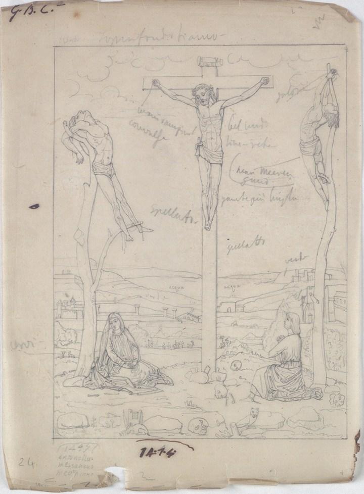 Giovan Battista Cavalcaselle, Crocifissione Anversa, da Antonello da Messina. Biblioteca Nazionale Marciana, Venezia