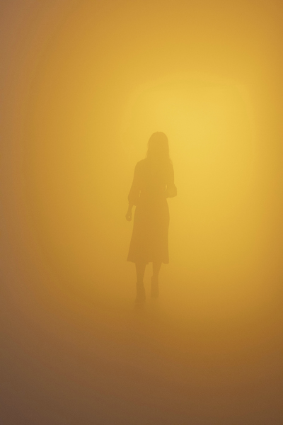 Olafur Eliasson, Din blinde passager (Your blind passenger), 2010, Fluorescent lamps, monofrequency lamps (yellow), fog machine, ventilator, wood, aluminium, steel, fabric, plastic sheet. Dimensions variable. Installation view: Tate Modern, London, 2019. Photo: Anders Sune Berg. Courtesy of the artist; neugerriemschneider, Berlin; Tanya Bonakdar Gallery, New York / Los Angeles © 2010 Olafur Eliasson