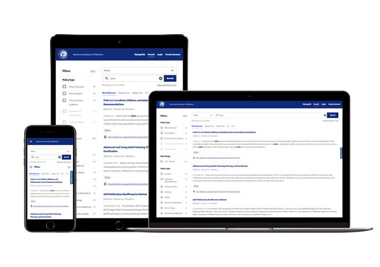 American Academy of Pediatrics Unified Search Platform - Association Web Development