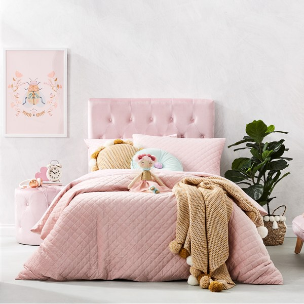 Adairs Kids - Lucy Velvet Quilt Cover Set Pink