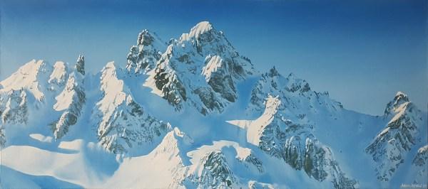 Courchevel France Adam Attew Painting Landscape art Alps ski mountain montagne neige