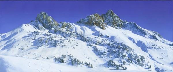 Austria Lech Warth Vorarlberg Arlberg Attew Painting Landscape artist art ski snowboard mountain winter Snow Alpine Alps Montagne Alpes