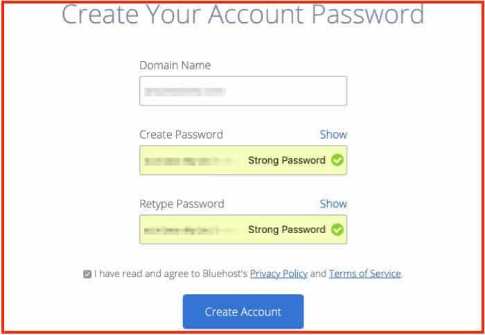 Come avviare un blog - Bluehost imposta la password