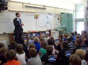 Adam speaking to local elementary school students