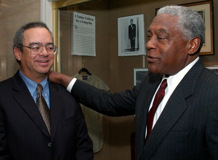 Former NL President and St. Louis Cardinals 1st baseman Bill White and Ralph Wimbish, Jr. White was one of the players housed by Dr. Wimbish. Photograph taken by New York Post, 2005