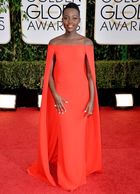 Lupita Nyong'o Golden Globe red carpet Ralph Lauren