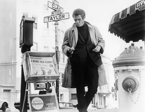 Steve McQueen Bullitt black and white