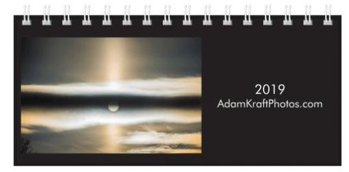 2019 Desk Calendar Cover featuring a sun pillar