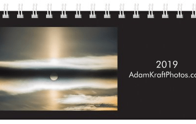 2019 Desk Calendar Cover featuring a sun pillar