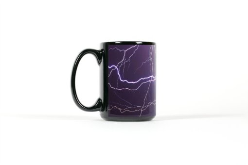 Left side view of black mug with multiple lightning strikes