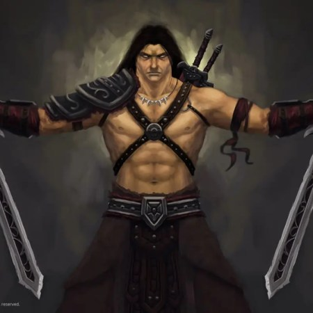 Conan like barbarian holding dual swords digital painting by Adam Miconi